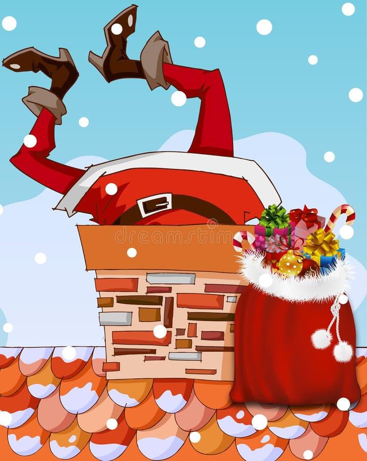 De Kerstman plakte in schoorsteen stock illustratie