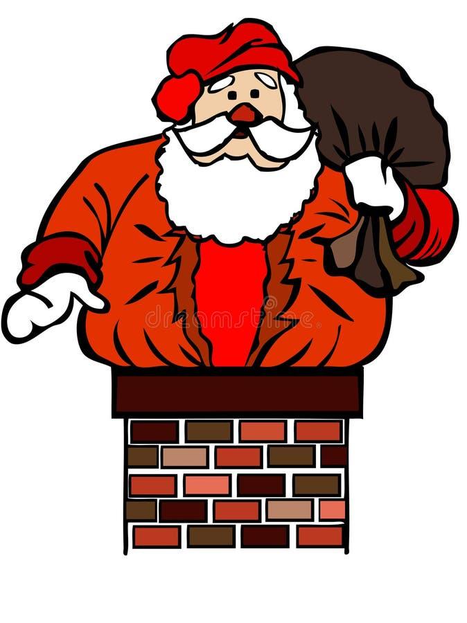 De Kerstman plakte in schoorsteen vector illustratie