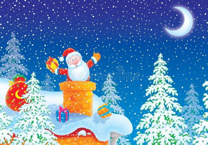 De Kerstman plakte in schoorsteen op housetop stock illustratie