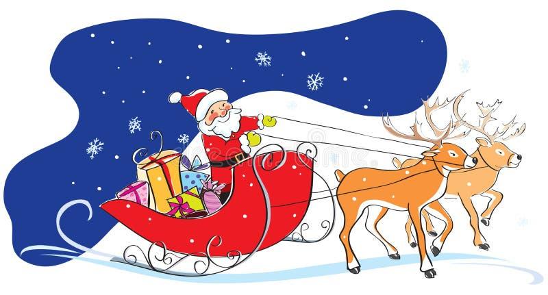 De Kerstman in slee, de giften van Kerstmis, deers vector illustratie