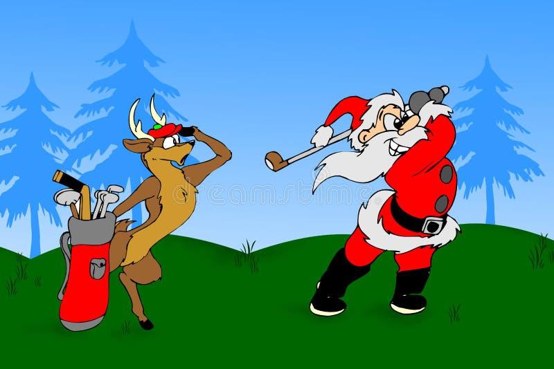 De kerstman speelt een golf royalty-vrije stock afbeelding