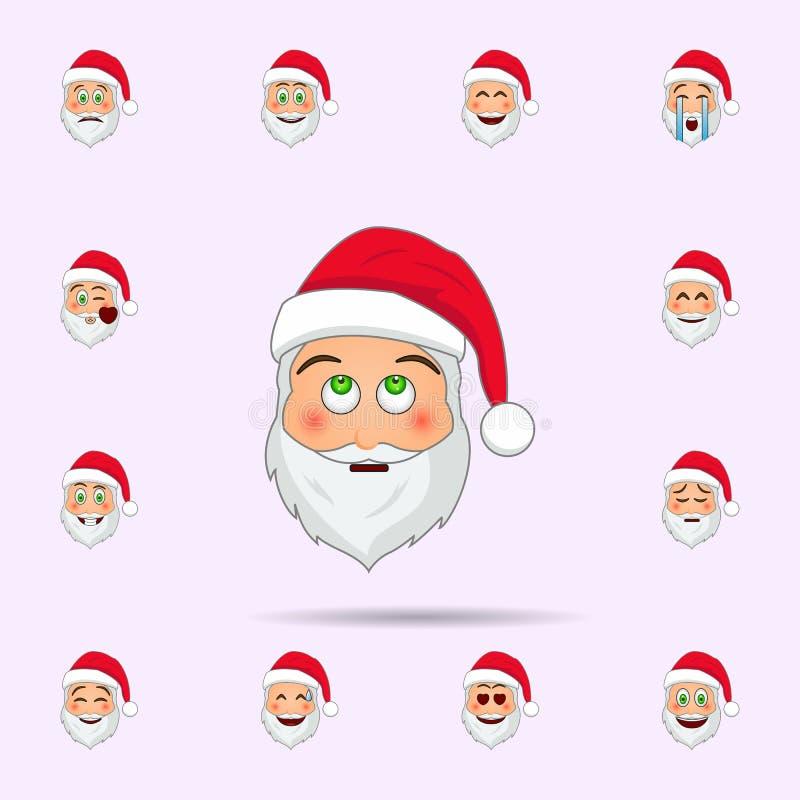 De Kerstman in teleurgesteld emojipictogram Dat voor Web wordt geplaatst en mobiel de pictogrammenalgemeen begrip van de Kerstman vector illustratie