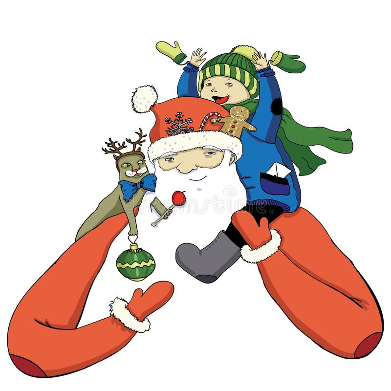 De Kerstman van de beeldverhaalkleur met gelukkig weinig jongen royalty-vrije illustratie