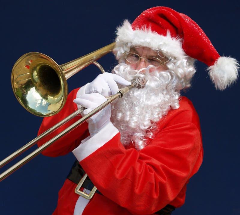 De Kerstman van de trombone stock foto's