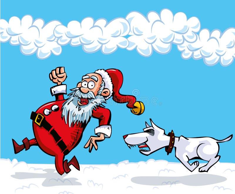 De Kerstman van het beeldverhaal met een witte baard royalty-vrije illustratie