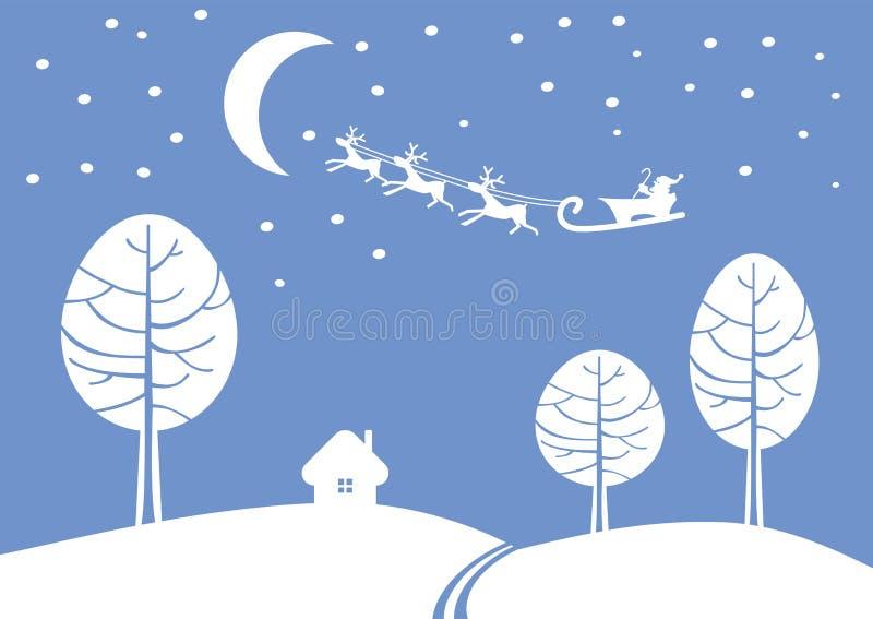De kerstman verhaast aan een Nieuwjaar stock illustratie