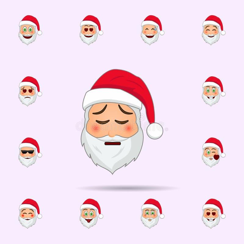 De Kerstman in Vermoeid emojipictogram Dat voor Web wordt geplaatst en mobiel de pictogrammenalgemeen begrip van de Kerstman Emoj vector illustratie