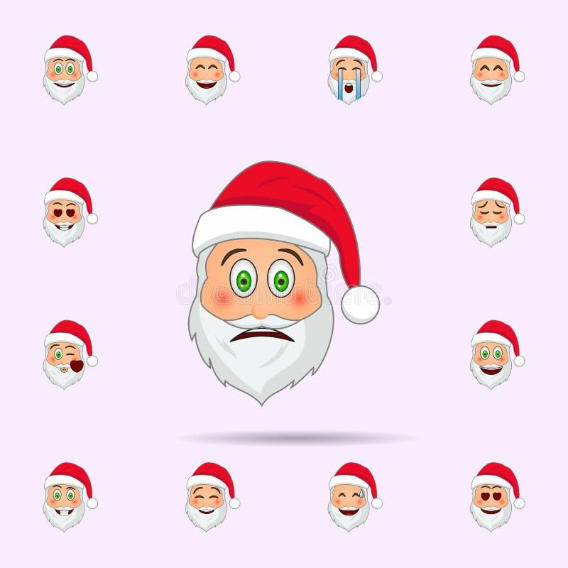 De Kerstman in verrast emojipictogram Dat voor Web wordt geplaatst en mobiel de pictogrammenalgemeen begrip van de Kerstman Emoji vector illustratie