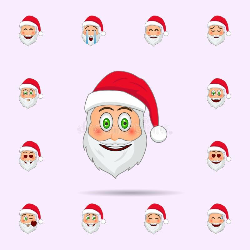 De Kerstman in verrast, het pictogram van glimlachemoji Dat voor Web wordt geplaatst en mobiel de pictogrammenalgemeen begrip van vector illustratie