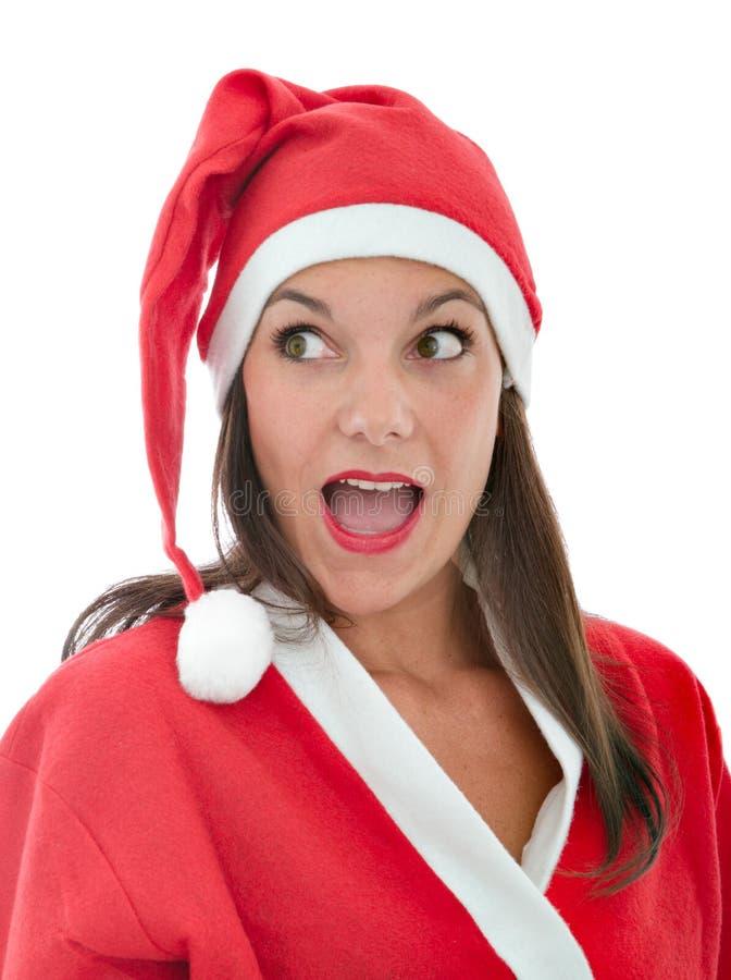 De Kerstman verraste uitdrukking royalty-vrije stock afbeeldingen