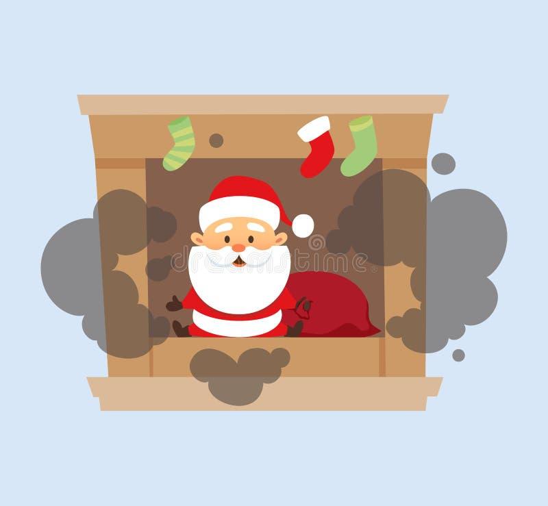 De kerstman viel in open haard royalty-vrije illustratie