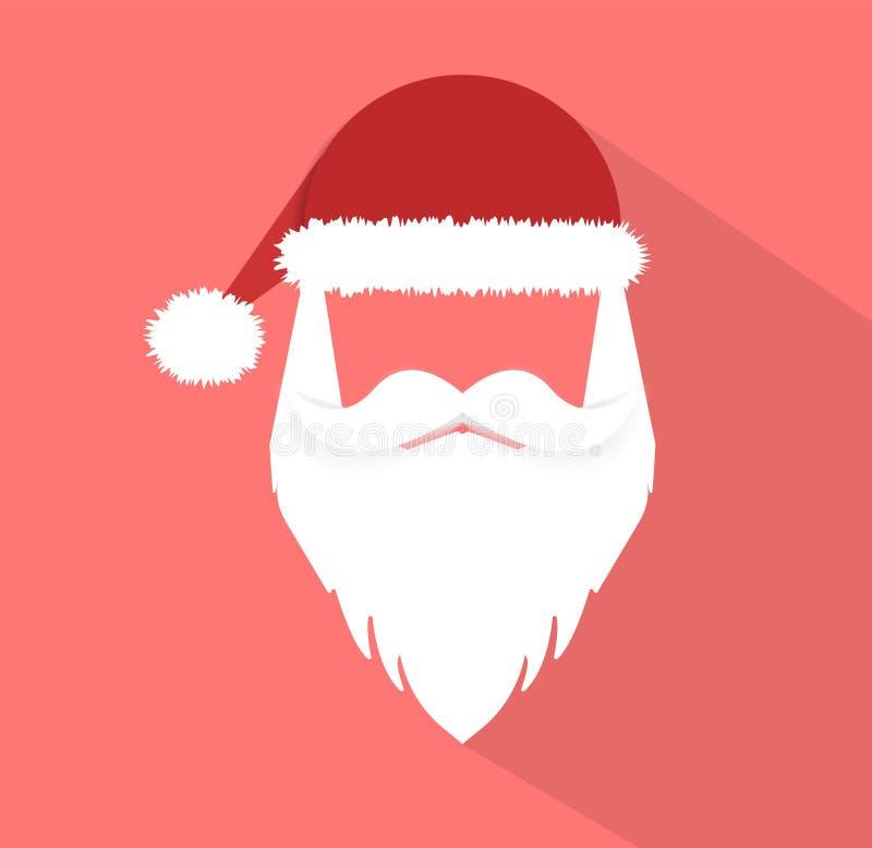 De Kerstman _2 Vlakke stijl Vrolijke Kerstmis en Gelukkig Nieuwjaar Vector illustratie stock illustratie
