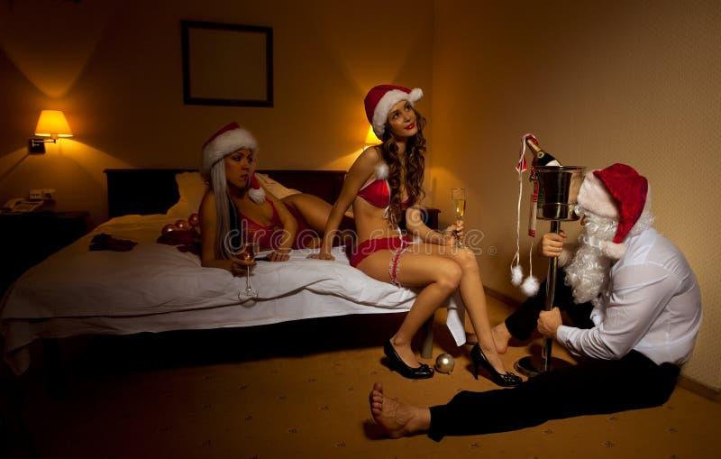 De Kerstman wordt overgegaan uit Gedronken royalty-vrije stock afbeelding