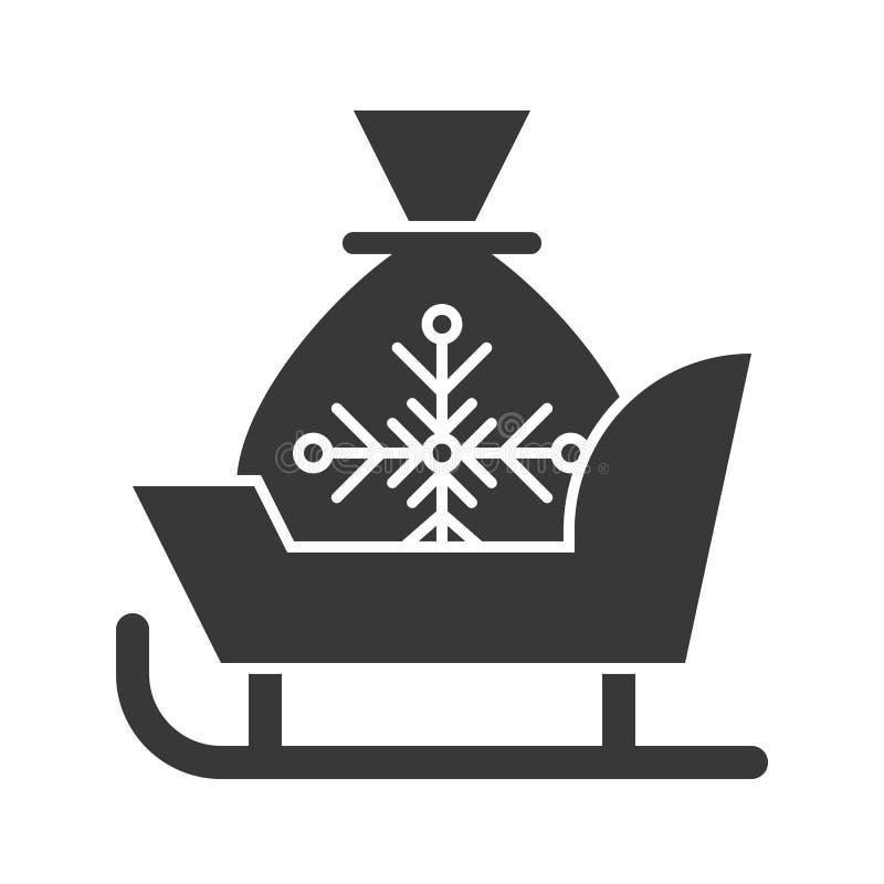 De de kerstmanar en gift doen, de Vrolijke reeks van het Kerstmispictogram, vast lichaam desig in zakken royalty-vrije illustratie