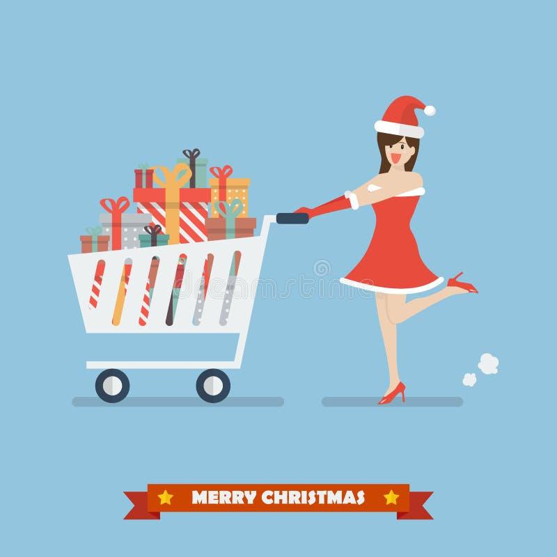 De kerstmanvrouw duwt een boodschappenwagentje met stapels van voorstelt stock illustratie