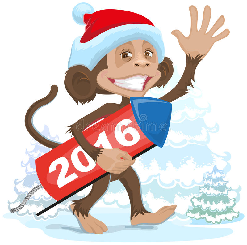 De Kerstmisaap die Santa Claus dragen brengt vuurwerk 2016 vector illustratie