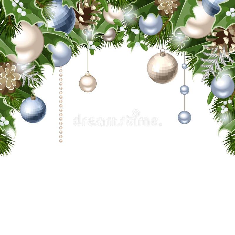 De Kerstmisachtergrond met blauwe en zilveren ballen, kegels, spar vertakt zich, hulst en maretak Vector eps-10 stock illustratie