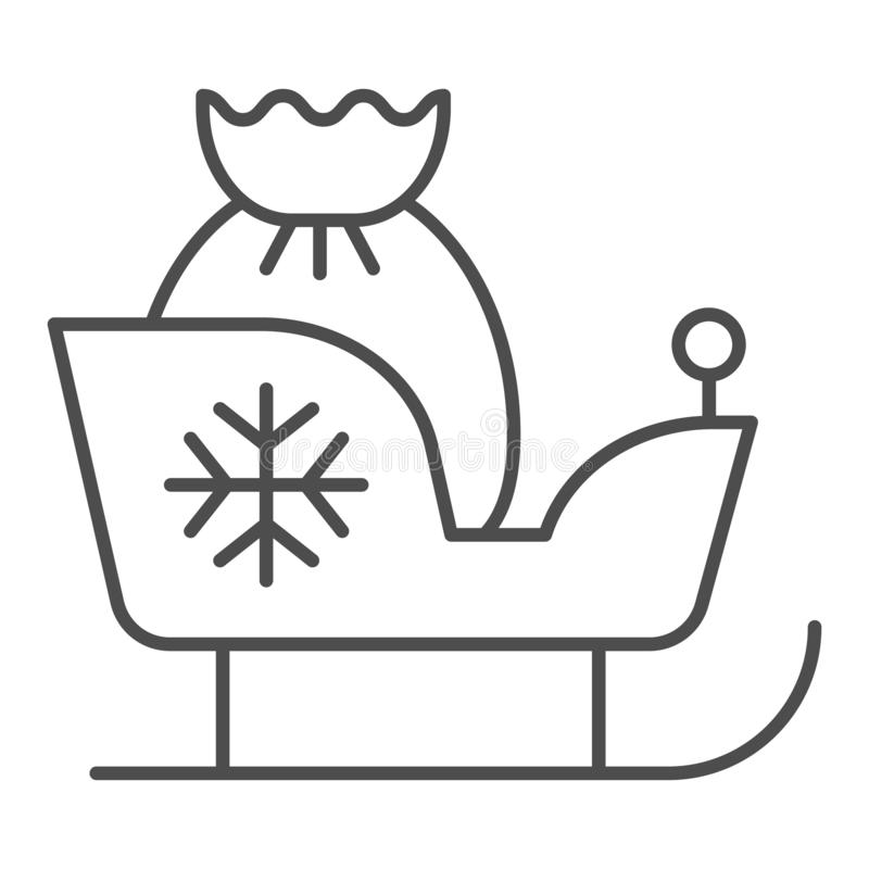 De Kerstmisar met giften verdunt lijnpictogram De vectordieillustratie van de kerstmanslee op wit wordt geïsoleerd Ar met santaza stock illustratie
