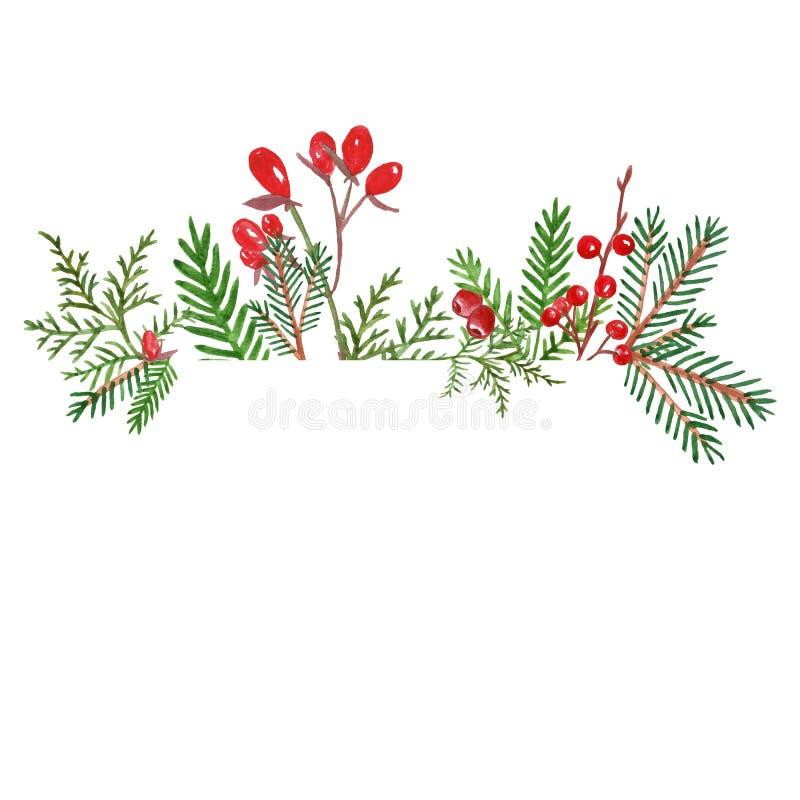 De Kerstmisbanner met de hand getrokken waterverfwinter evegreen installaties en rode bessen vector illustratie