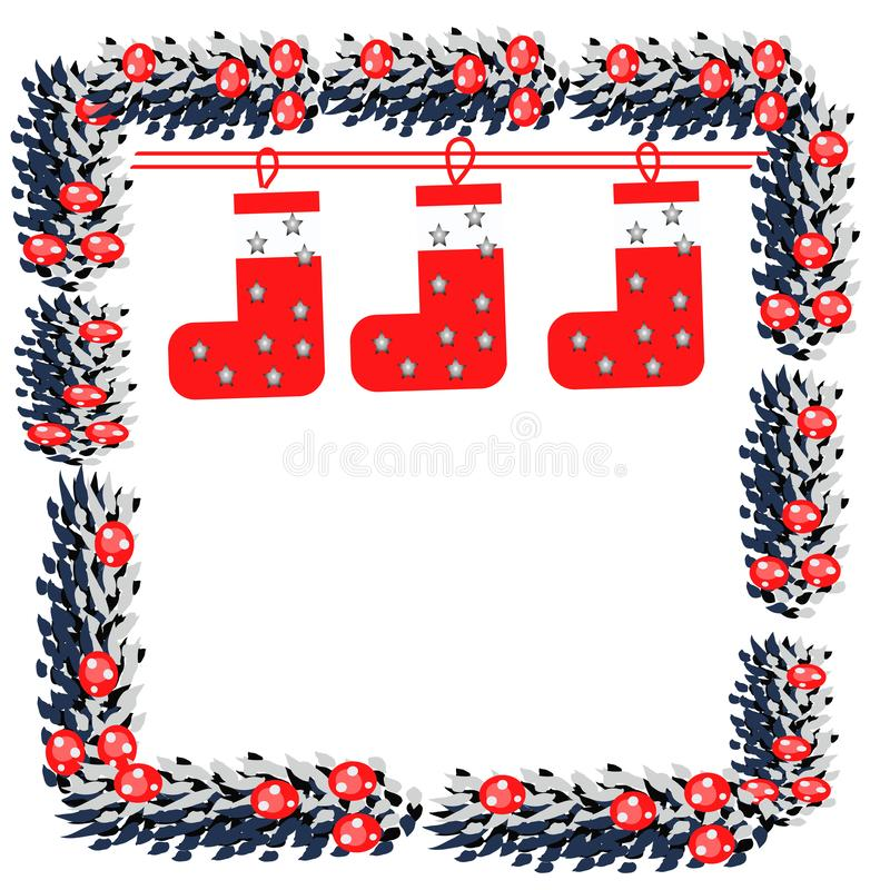 De Kerstmisdecoratie met pijnboomboom vertakt zich, gestreept kleurrijk sokken en lint, voor groetkaart, geschilderde hand vector illustratie
