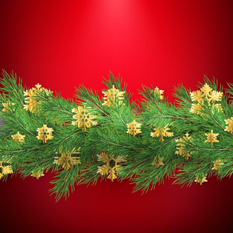 De Kerstmisgrens van realistische het kijken pijnboom wordt gemaakt vertakt zich met gouden foliesneeuwvlokken op rood dat Eps 10 stock illustratie