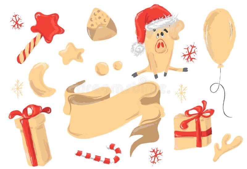 De Kerstmisgroeten plaatsen met decoratieve de winterelementen - snuisterijen, lint, giftdozen, baloon, leuk varken op witte acht stock illustratie