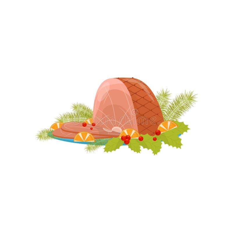De Kerstmisham met plakken op oranje, rode bessen met groene bladeren, spar vertakt zich Traditionele vakantieschotel vlak stock illustratie