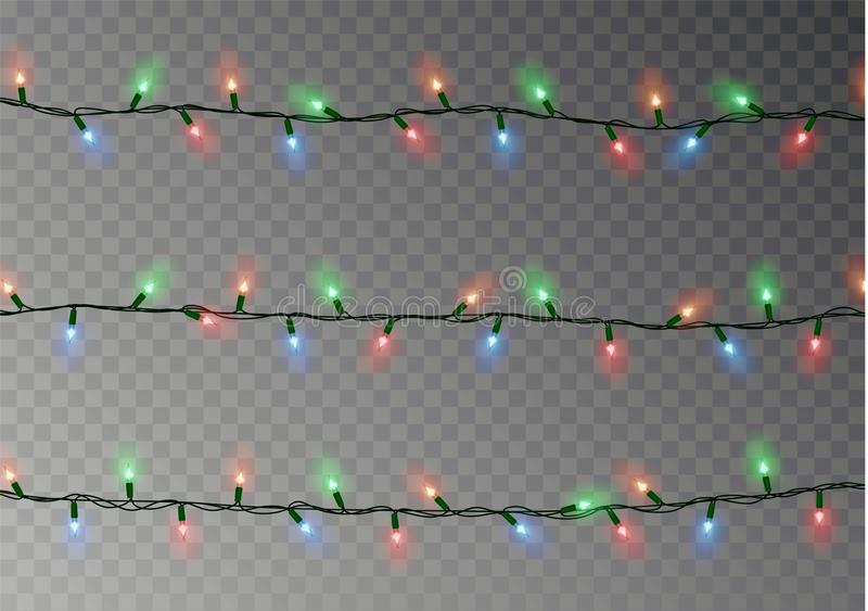 De Kerstmiskleur steekt koord aan Transparante die effect decoratie op donkere achtergrond wordt geïsoleerd realistisch stock illustratie