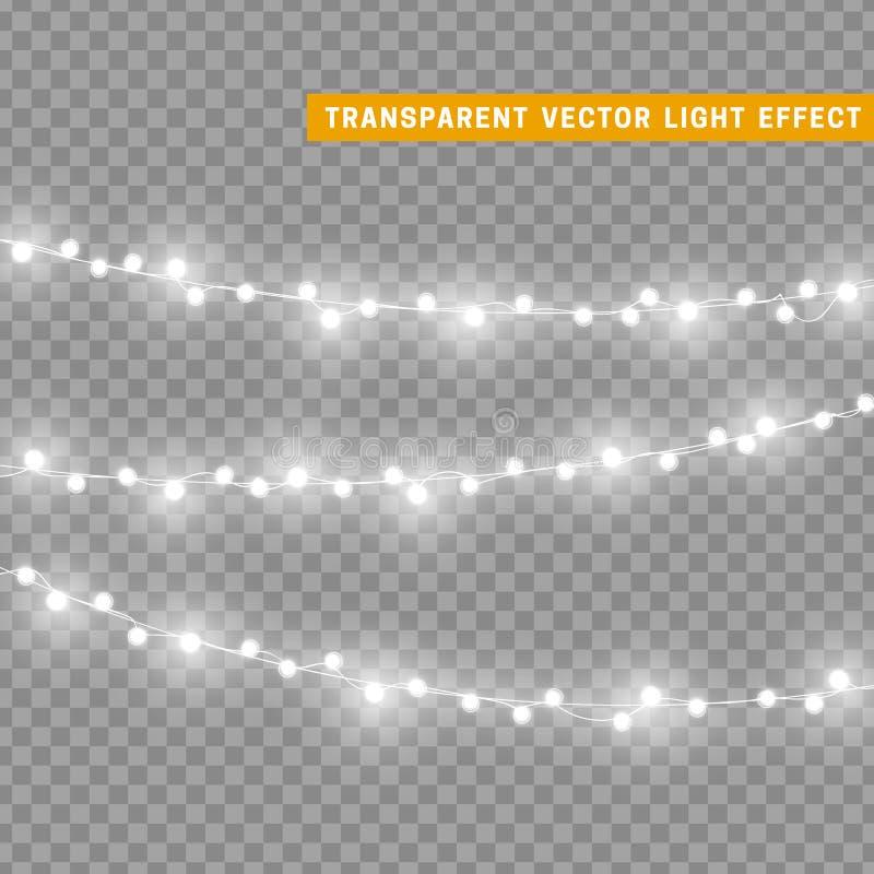 De Kerstmislichten isoleerden realistische ontwerpelementen vector illustratie