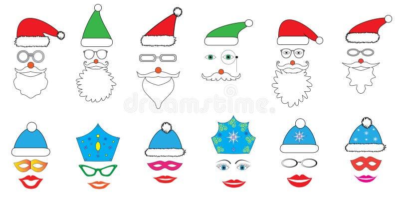 De Kerstmispartij plaatste - Glazen, hoeden, lippen, ogen, diademen, snorren, maskers - voor ontwerp, fotocabine in vector vector illustratie