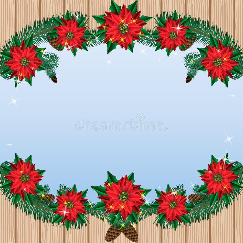 De Kerstmispoinsettia bloeien achtergrond met pijnboomtakken op een houten achtergrond en een hemel royalty-vrije illustratie