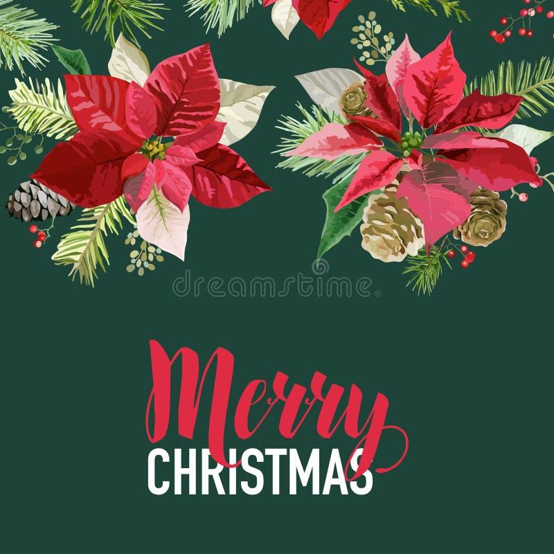 De Kerstmispoinsettia bloeien Grafisch Ontwerp - Uitstekende de Winterachtergrond royalty-vrije illustratie