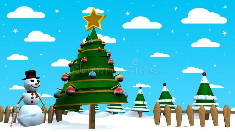 De Kerstmisscène met een sneeuwmens naast een abstracte Kerstboom verfraaide met gekleurde gebieden met een bos van bomen vector illustratie