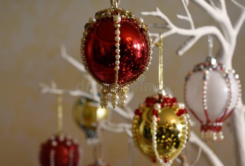De Kerstmissnuisterij siert met juwelen getooid royalty-vrije stock fotografie
