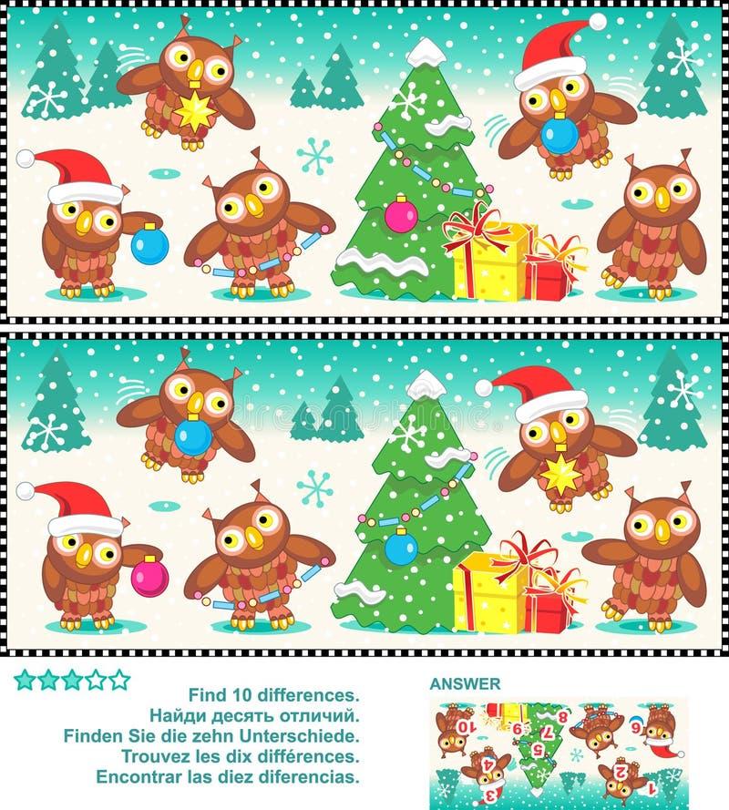 De Kerstmisuilen vinden het raadsel van het verschillenbeeld stock illustratie