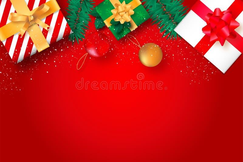 De Kerstmisvlakte legt op redbackground stock foto