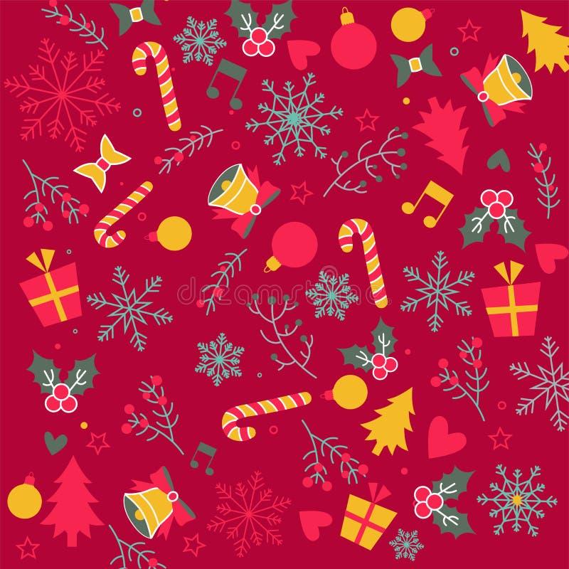 De Kerstmisvlakte legt op rode achtergrond met klokken, decoratie stock foto's