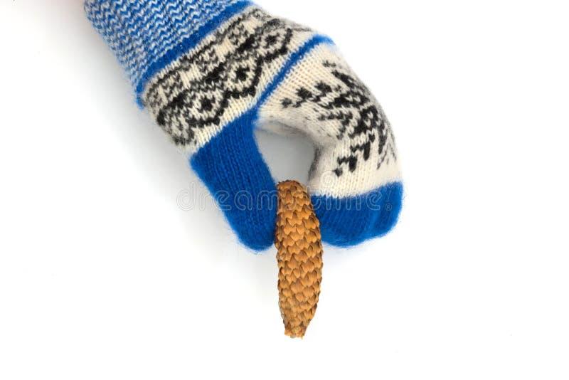 De Kerstmisvuisthandschoenen zijn geïsoleerd op een witte achtergrond royalty-vrije stock foto