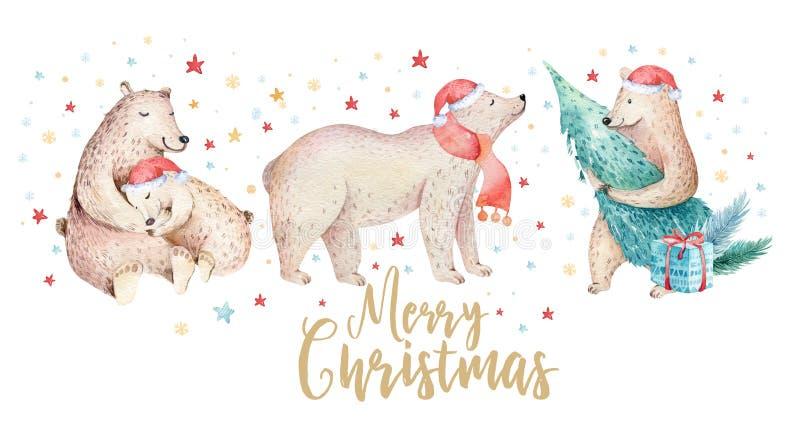 De Kerstmiswaterverf draagt Het leuke bos van jonge geitjeskerstmis draagt dierlijke illustratie, nieuwe jaarkaart of affiche Han vector illustratie