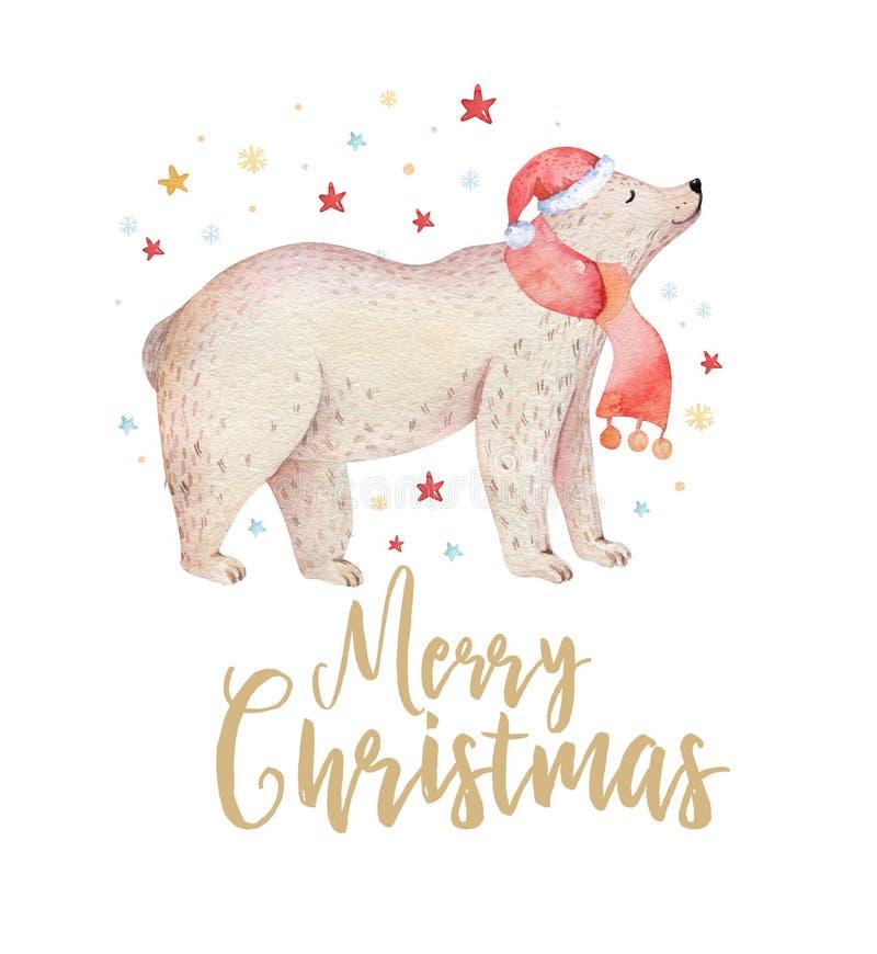 De Kerstmiswaterverf draagt Het leuke bos van jonge geitjeskerstmis draagt dierlijke illustratie, nieuwe jaarkaart of affiche Han royalty-vrije illustratie