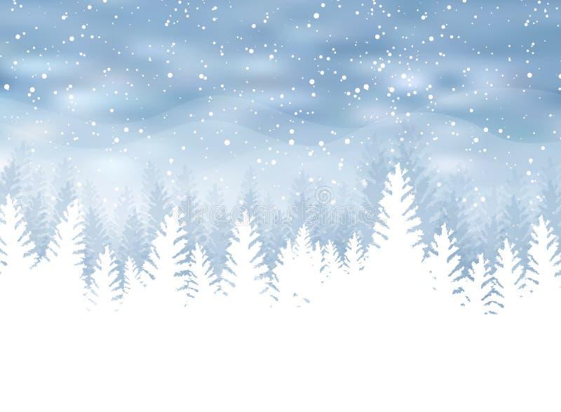 De Kerstmiswinter op blauwe achtergrond Witte sneeuw met sneeuwvlokken vector illustratie