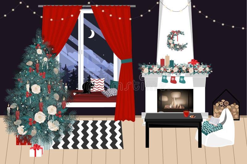 De Kerstmiswoonkamer met een Kerstmisboom en stelt onder het voor - moderne Skandinavische stijl, vectorillustratie royalty-vrije illustratie