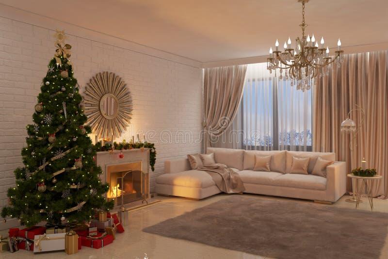 De Kerstmiswoonkamer met open haard, boom en stelt voor vector illustratie