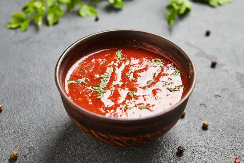De ketchupsaus en deeg van de Satsebelitomaat met roodgloeiende koele peper, koriander, knoflook, azijn, kruiden Georgische tradi royalty-vrije stock foto's