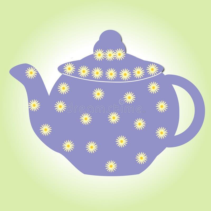 De ketel van de de drankpot van de theetheepot isoleerde van het de kopporselein van China van de het ontbijt witte antieke drank stock illustratie