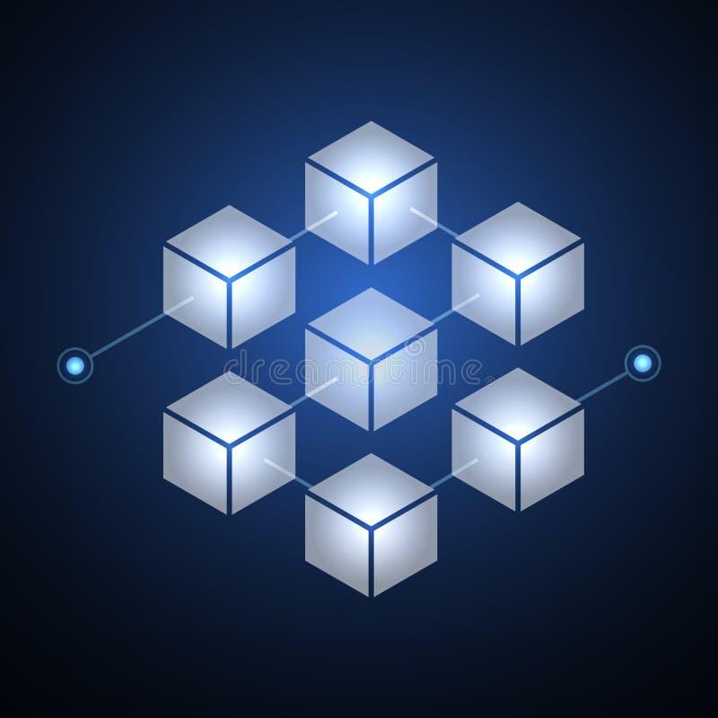 De keten van het cryptocurrencyblok van de Blockchaintechnologie fintech server abstracte achtergrond Het verbonden blok bevat cr royalty-vrije illustratie