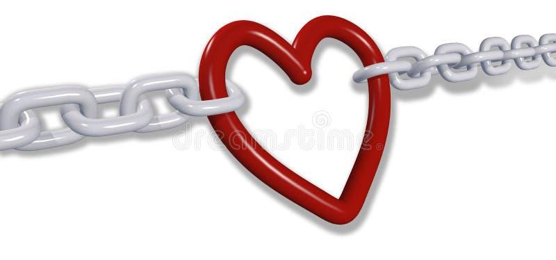 De ketens van de liefde trekken de romantische links van het valentijnskaarthart stock illustratie