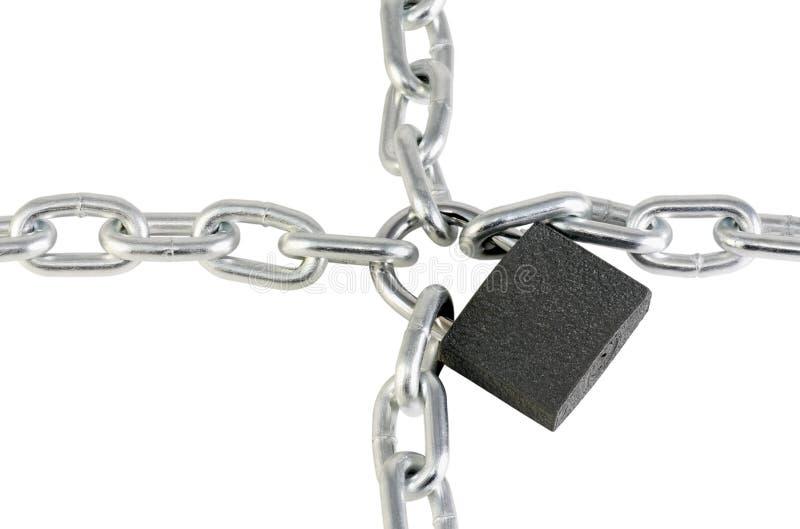 De ketting en het slot van het metaal stock afbeeldingen
