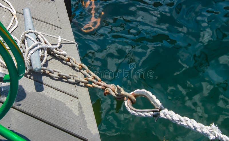 De ketting maakte omhoog vast aan cleat op dok en dokband die aan een boot van camera - over diep water wordt getoond in bijlage  stock fotografie