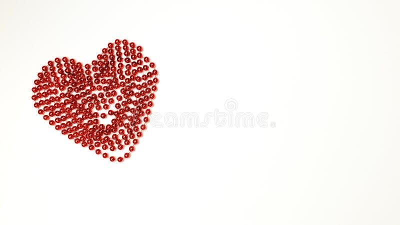 De ketting van rode ballen vouwde in de vorm van een hart - een symbool van al minnaars en Dag van Valentine stock afbeelding